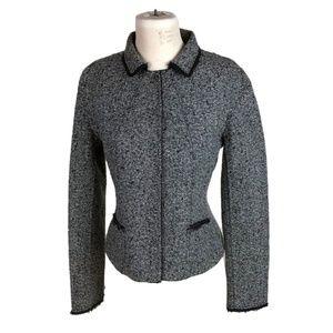 Elie Tahari M Medium Tweed Jacket Fitted Gray